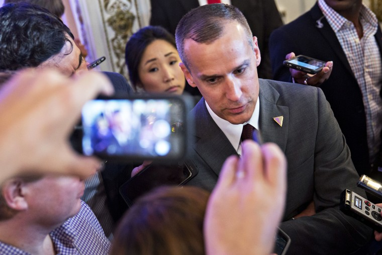 Corey Lewandowski, campaign manager for 2016 Republican presidential candidate Donald Trump, speaks to members of the media before a news conference in Palm Beach, Fla., on March 11, 2016. (Photo by Andrew Harrer/Bloomberg/Getty)