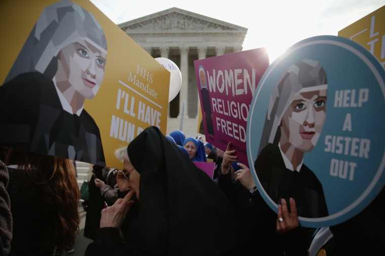 Nuns supporting Little Sisters of the Poor, attend a rally in front of the US Supreme Court, March 23, 2016 in Washington, DC. (Photo by Mark Wilson/Getty)