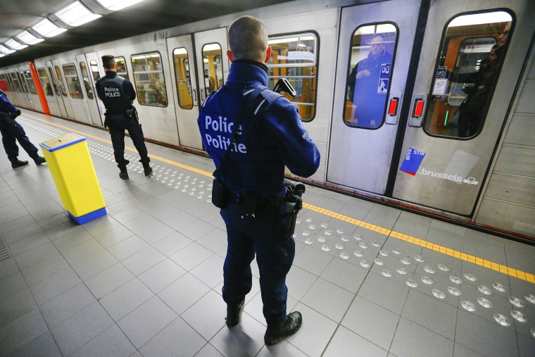 Belgian police officers patrol in a metro station in Brussels, a week after bomb attacks in a Brussels metro and the Belgian international airport of Zaventem, in Brussels, Belgium, March 29, 2016. (Photo by Yves Herman/Reuters)