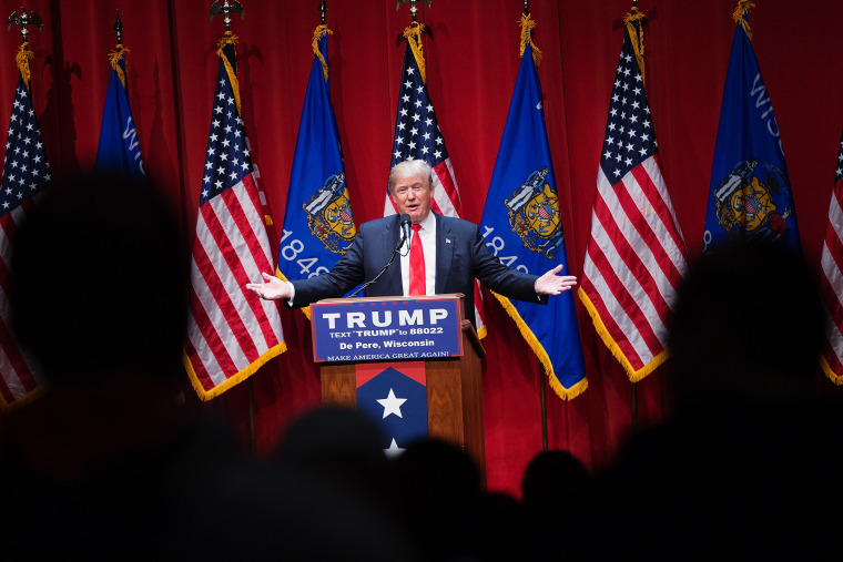 Republican presidential candidate Donald Trump speaks to guests during a campaign rally at St. Norbert College on March 30, 2016 in De Pere, Wis. (Photo by Scott Olson/Getty)