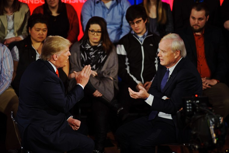 Donald Trump argues a point during an MSNBC interview with Chris Matthews, March 30, 2016. (Photo by Timothy Hiatt/MSNBC)