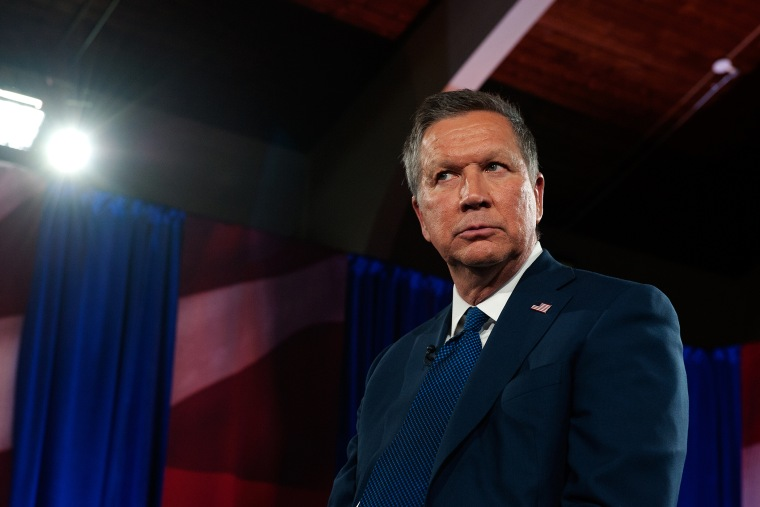 GOP Presidential Candidate John Kasich speaks with the audience during an MSNBC town hall meeting at St. Helen's Roman Catholic Church on March 30, 2016, New York City. (Photo by Bryan Thomas/Getty)