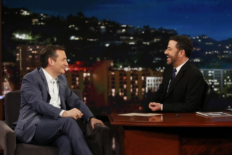 """Presidential candidate Ted Cruz appears on """"Jimmy Kimmel Live"""" on March 30, 2016. (Photo by Randy Holmes/ABC/Getty)"""