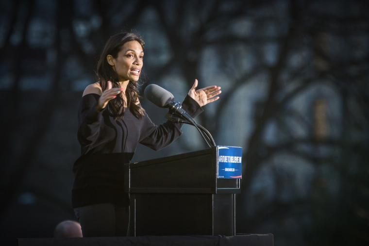 Rosario Dawson speaks onstage at a campaign event for Democratic presidential candidate Senator Bernie Sanders (D-VT) at Saint Mary's Park on March 31, 2016 in New York City. (Photo by Joe Russo/Sipa)