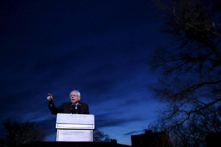 Democratic presidential candidate Bernie Sanders addresses attendees during a campaign rally at Saint Mary's Park in Bronx, N.Y., on March 31, 2016. (Photo by Lucas Jackson/Reuters)