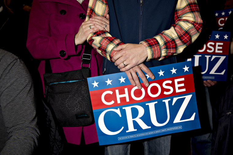 Attendees wait for the start of a campaign rally with Senator Ted Cruz, a Republican from Texas and 2016 presidential candidate, in Green Bay, Wis., April 3, 2016. (Photo by Daniel Acker/Bloomberg/Getty)
