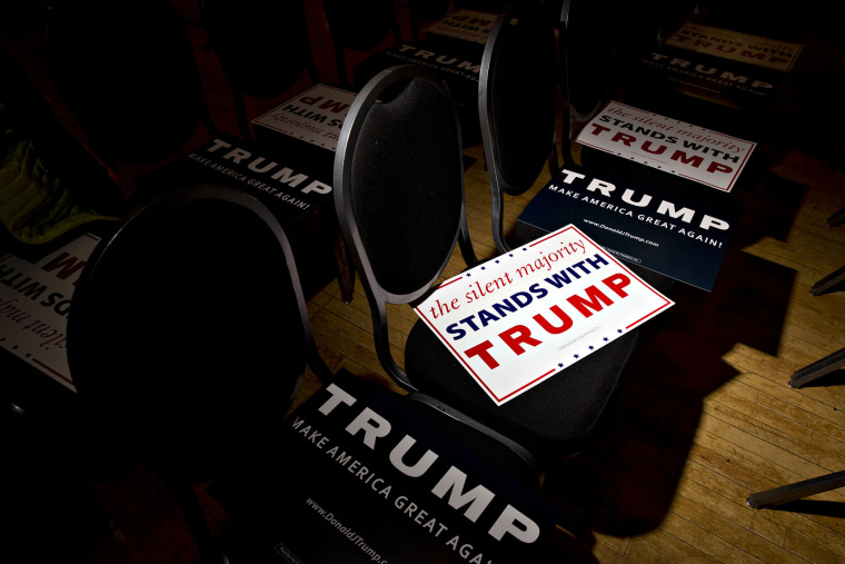 Campaign signs sit on chairs ahead of an event with Donald Trump, president and chief executive of Trump Organization Inc. and 2016 Republican presidential candidate, in Racine, Wis., April 2, 2016. (Photo by Daniel Acker/Bloomberg/Getty)