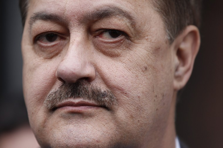 """Donald """"Don"""" Blankenship, former chief executive officer of Massey Energy Co., exits the Robert C. Byrd U.S. Courthouse in Charleston, W. Va. on Dec. 3, 2015. (Photo by Calvin Mattheis/Bloomberg/Getty)"""