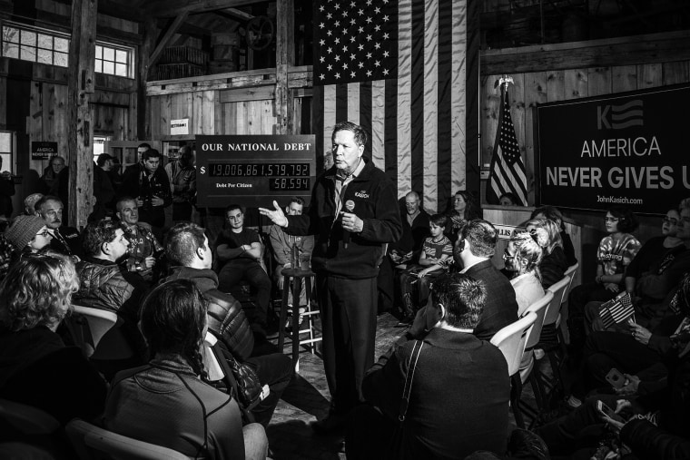 Gov. John Kasich holds a rally in Hollis, N.H. on Feb. 2, 2016. (Photo by Mark Peterson/Redux for MSNBC)
