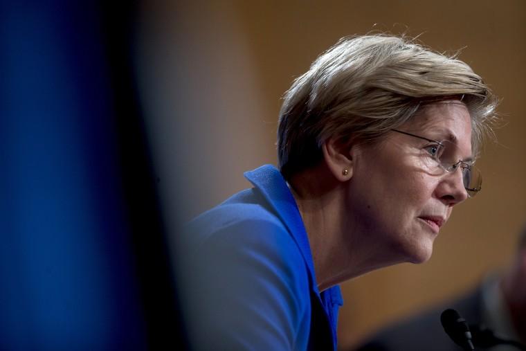 Senator Elizabeth Warren (D-Mass.) listens during a hearing in Washington, D.C., on Nov. 21, 2014. (Photo by Andrew Harrer/Bloomberg/Getty)