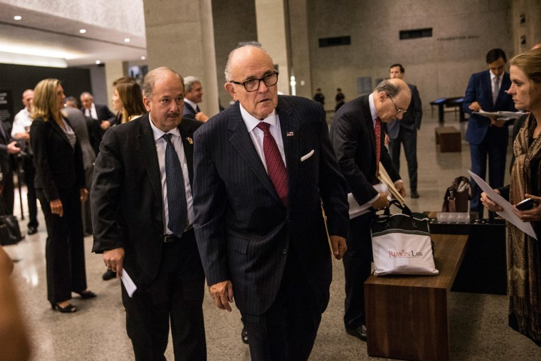 Former Mayor of New York City Rudy Giuliani waits to testify at a U.S. House of Representatives Committee on Homeland Security hearing at the National September 11 Memorial and Museum on Sep. 8, 2015. (Photo by Andrew Burton/Getty)