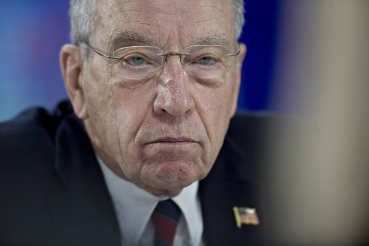 """Senator Charles """"Chuck"""" Grassley, a Republican from Iowa, listens to a question during a Bloomberg Politics interview in Des Moines, Ia., Feb. 1, 2016. (Photo by Bloomberg/Getty)"""