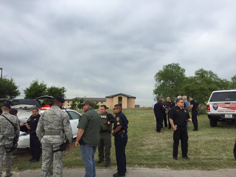Bexar County Sheriff's deputies are seen inside Lackland Air Force Base in this image tweeted by @BexarCoSheriff in San Antonio, Texas April 8, 2016. (Photo by Bexar County Sheriff/Handout/Reuters)