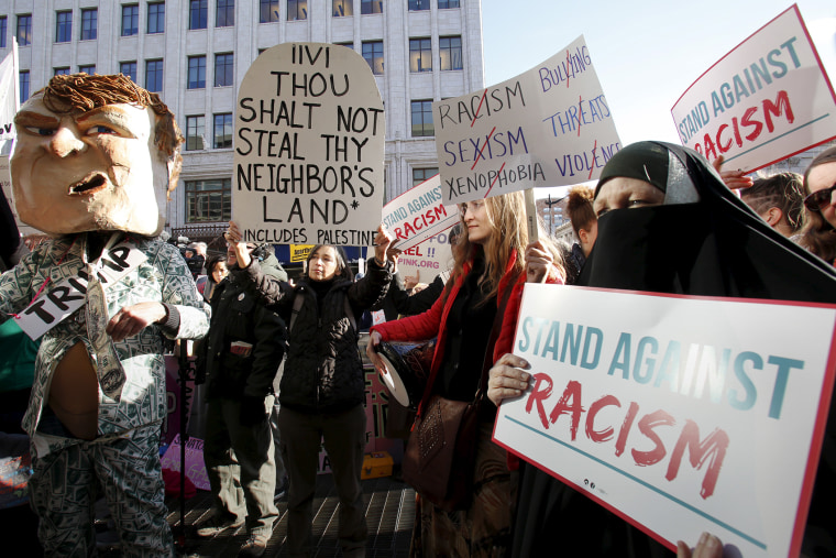 Anti-Trump protesters rally outside during the American-Israeli Public Affairs Committee (AIPAC) Conference at the Verizon Center in Washington, March 21, 2016. (Photo by Yuri Gripas/Reuters)