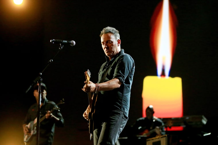 """Recording artist Bruce Springsteen performs onstage at A+E Networks """"Shining A Light"""" concert at The Shrine Auditorium on Nov. 18, 2015 in Los Angeles, Calif. (Photo by Christopher Polk/Getty)"""