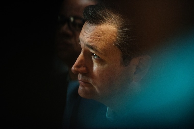 Republican presidential candidate Ted Cruz listens at the restaurant Sabrosura 2 on April 6, 2016 in the Bronx borough of New York City. (Photo by Bryan Thomas/Getty)