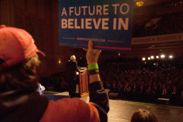 Democratic presidential candidate Sen. Bernie Sanders (D-VT) speaks during a political rally on April 5, 2016 in Laramie, Wy. (Photo by Theo Stroomer/Getty)