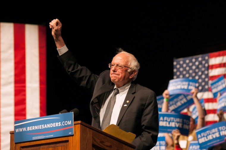 Democratic presidential candidate Sen. Bernie Sanders (D-VT) speaks during a rally on April 5, 2016 in Laramie, Wy. (Photo by Theo Stroomer/Getty)