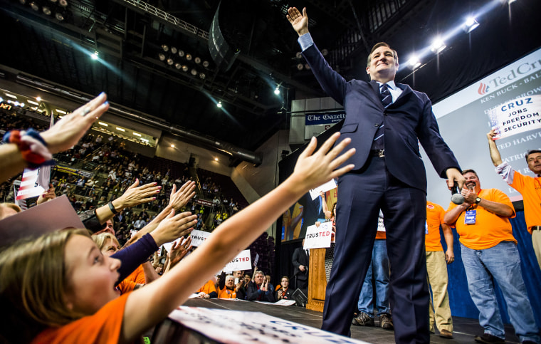 U.S. Sen. Ted Cruz waves to supporters after speaking at the Colorado State Republican Assembly at the Broadmoor World Arena on April 9, 2016, in Colorado Springs, Colo. (Photo by Stacie Scott/The Gazette/AP)