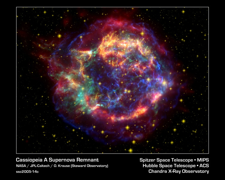 This stunning false-color picture shows off the many sides of the supernova remnant Cassiopeia A.