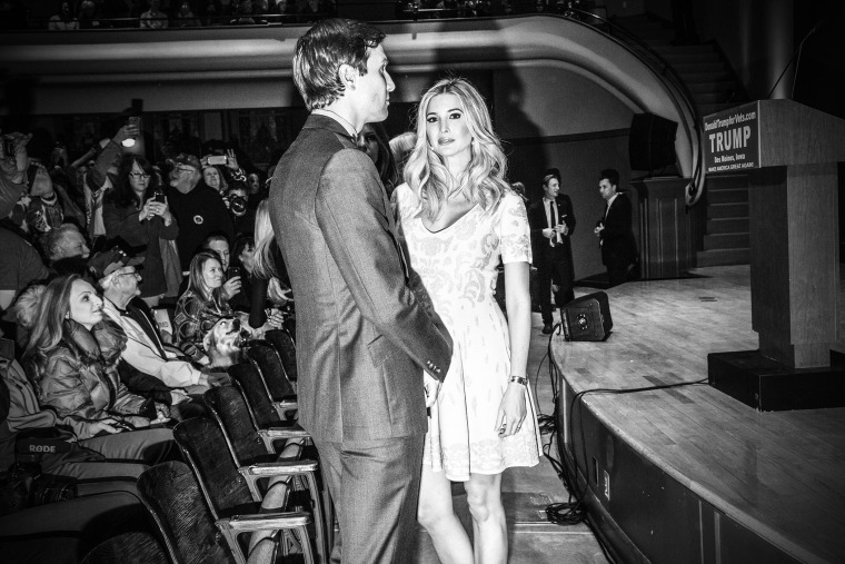 Ivanka trump joins her father for an event he hosted to raise money for veterans organizations in Des Moines, Ia., Jan. 28, 2016. (Photo by Mark Peterson/Redux for MSNBC)