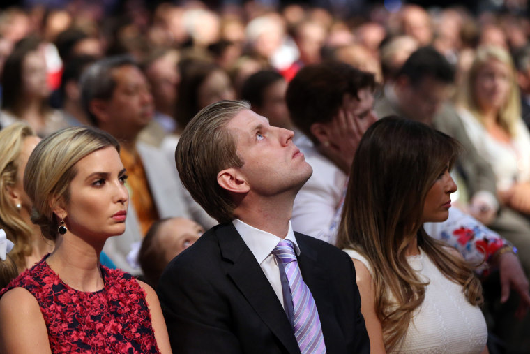 Donald Trump's daughter Ivanka Trump, son Eric Trump and wife Melania Knauss watch the first Republican presidential debate at the Quicken Loans Arena, Aug. 6, 2015, in Cleveland. (Photo by Andrew Harnik/AP)