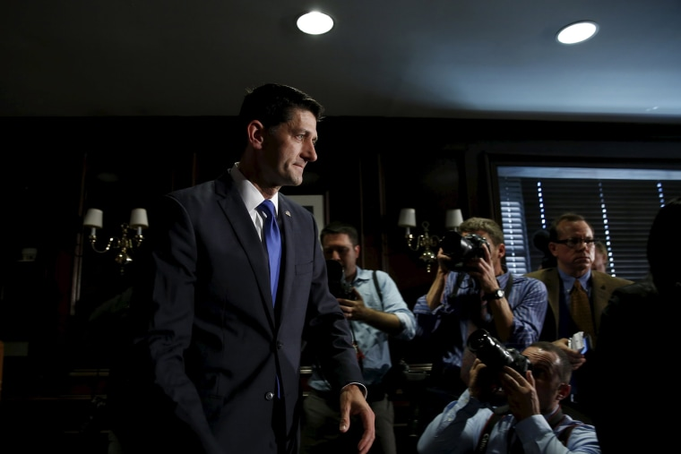 U.S. House Speaker Paul Ryan leaves after making a statement to the media on Capitol Hill in Washington, D.C., ruling himself out as a potential 2016 presidential candidate April 12, 2016. (Photo by Yuri Gripas/Reuters)