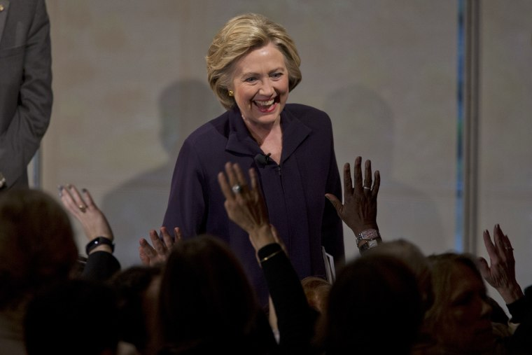 Democratic presidential candidate Hillary Clinton greets members of the audience during a Glassdoor Pay Equality Roundtable, April 12, 2016, in New York. (Photo by Mary Altaffer/AP)