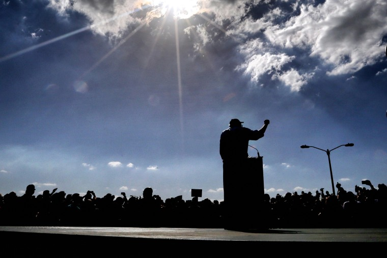 Democratic presidential candidate Bernie Sanders delivers remarks to supporters on at his rally in Kissimmee, Fla., March 10, 2016. (Photo by Joe Burbank/TNS/ZUMA)
