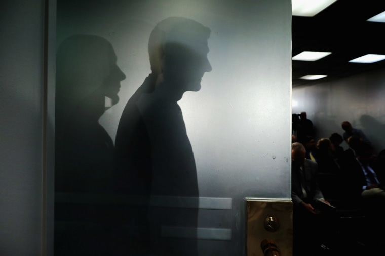 Speaker of the House Paul Ryan (R-WI) casts his shadow on a glass door as he arrives for a news conference following the weekly House Republican conference at the U.S. Capitol April 13, 2016 in Washington, DC. (Photo by Chip Somodevilla/Getty)