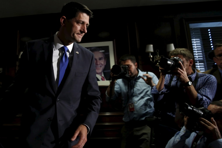 House Speaker Paul Ryan leaves after making a statement to the media on Capitol Hill in Washington ruling himself out as a potential 2016 presidential candidate April 12, 2016. (Photo by Yuri Gripas/Reuters)
