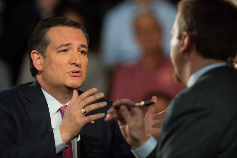 Ted Cruz responds to a question from Chuck Todd during an MSNBC Town Hall, in Buffalo, N.Y., April 14, 2016. (Photo by Nathan R. Congleton for MSNBC)