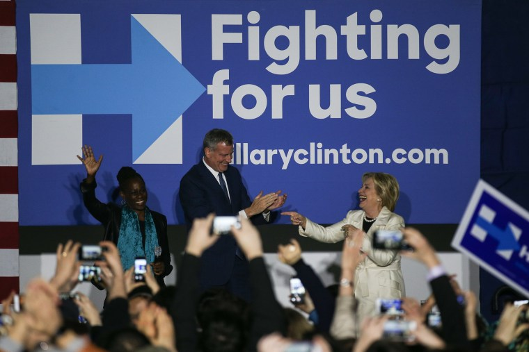 Democratic Presidential Candidate Hillary Clinton and Mayor of New York City Bill de Blasio greet people as Turkish Americans show their support in Brooklyn, April 14, 2016. (Photo by Cem Ozdel/Anadolu Agency/Getty)