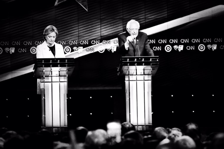 Hillary Clinton and Bernie Sanders go head to head at the CNN Democratic Presidential Debate in Brooklyn, N.Y., April 14, 2016. (Photo by Mark Peterson/Redux for MSNBC)