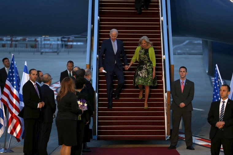 U.S. Vice President Joe Biden and his wife Jill disembark from a plane upon landing at Ben Gurion International Airport in Lod, near Tel Aviv, Israel, March 8, 2016. (Photo by Baz Ratner/Reuters)