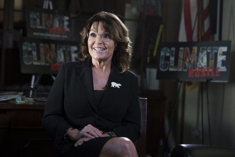 """Sarah Palin speaks during a panel discussion before a preview of the film """"Climate Hustle"""" on Capitol Hill, April 14, 2016, in Washington. (Photo by Evan Vucci/AP)"""