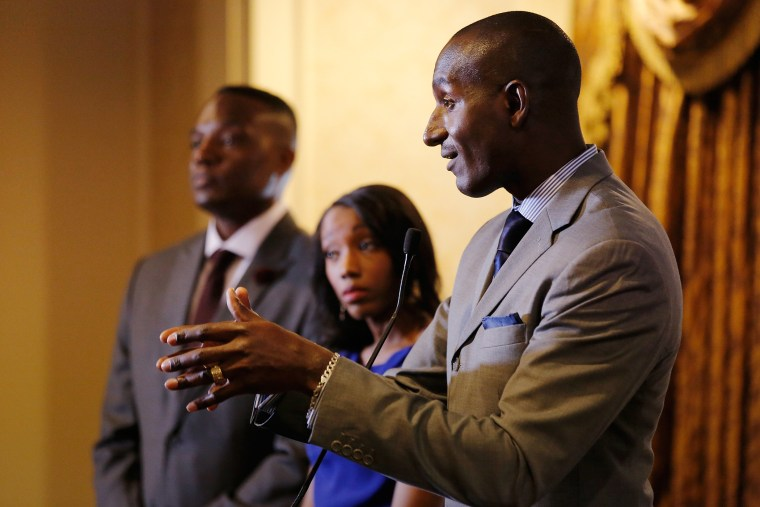 Three former Apprentice participants, from left, Kwame Jackson, Tara Dowdell and Dr. Randel Pinkett speak at a press conference at Roosevelt Hotel on April 15, 2016 in New York City. (Photo by Jemal Countess/Getty)