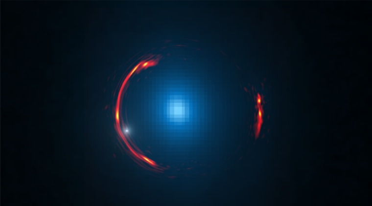 Composite image of the gravitational lens SDP.81 showing the distorted ALMA image of the more distant galaxy (red arcs) and the Hubble optical image of the nearby lensing galaxy (blue center object).