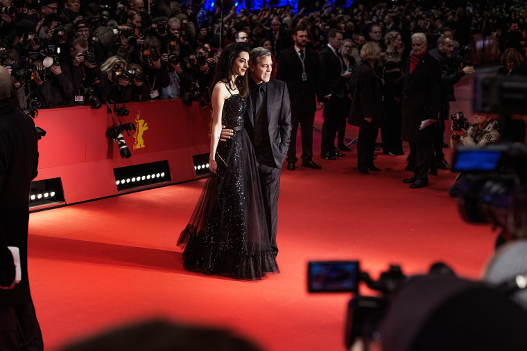 Amal Clooney and George Clooney attend the 'Hail, Caesar!' premiere during the 66th Berlinale International Film Festival at Berlinale Palace on Feb. 11, 2016 in Berlin, Germany. (Photo by Vincent Desailly/Getty)