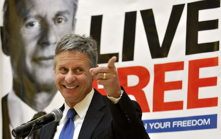 Former New Mexico Gov. Gary Johnson at a news conference during which he announced he was seeking a presidential nomination as a Libertarian, at the State Capitol in Santa Fe, N.M., Dec. 28, 2011. (Photo by Eddie Moore/Albuquerque Journal/AP)