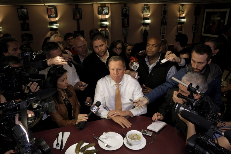 Republican U.S. presidential candidate John Kasich speaks to reporters at PJ Bernstein's Deli Restaurant in New York City, April 16, 2016. (Photo by Brendan McDermid/Reuters)