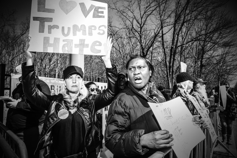 Anti-Trump demonstrators rallied outside the hotel on Staten Island where Donald Trump held a press conference and spoke at a lunch, April 17, 2016. (Photo by Mark Peterson/Redux for MSNBC)
