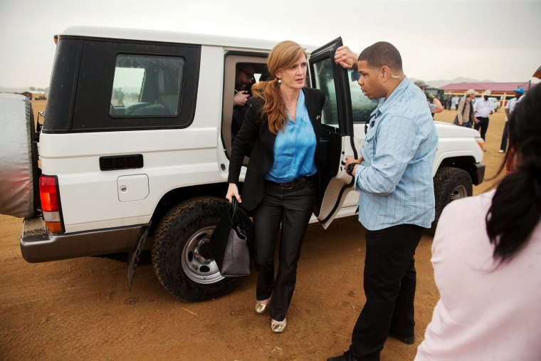 U.S. Ambassador to the United Nations Samantha Power, center, arrives at Minawao Refugee Camp in northern Cameroon, April 18, 2016, to visit refugees who have fled Boko Haram. (Photo by Andrew Harnik/AP)
