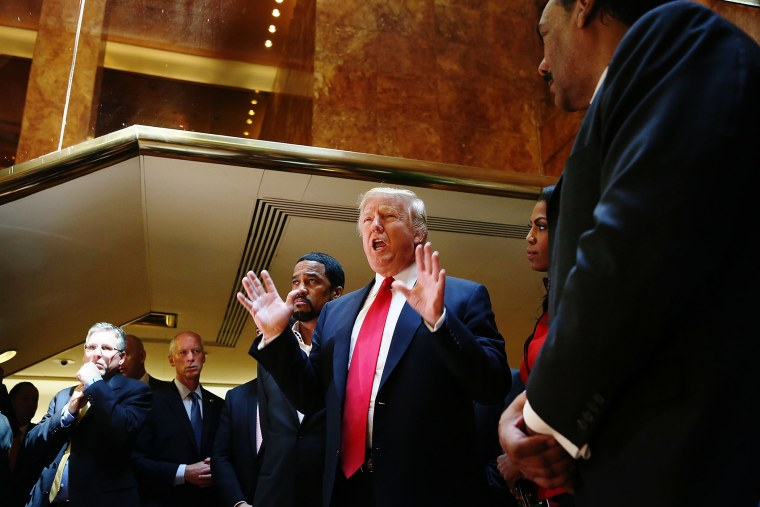 """Republican presidential candidate Donald Trump greets members of the """"National Diversity Coalition for Trump,"""" a day ahead of New York primary on April 18, 2016 in New York City. (Photo by Spencer Platt/Getty)"""