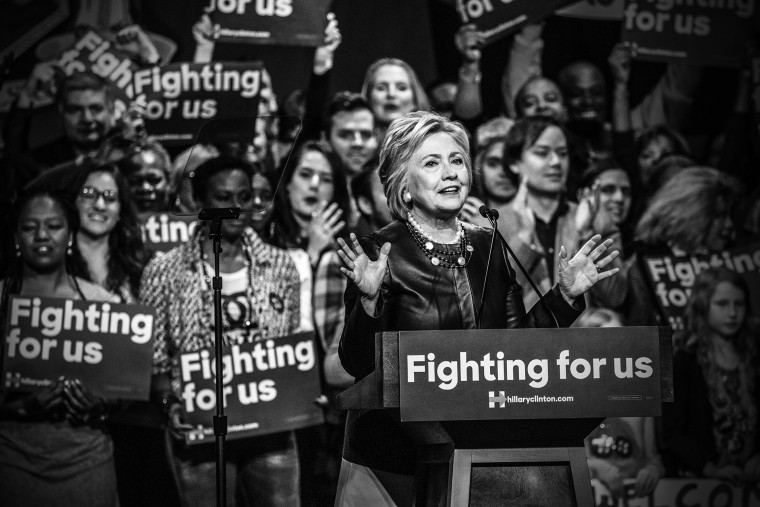 Hillary Clinton speaks at a rally at the Apollo Theatre in Harlem in New York, March 30, 2016. (Photo by Mark Peterson/Redux for MSNBC)
