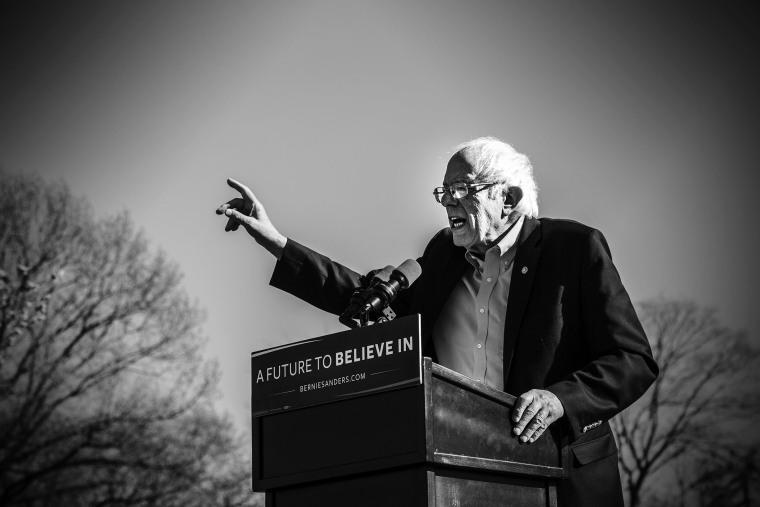 Senator Bernie Sanders speaks at rally in Prospect Park, Brooklyn, April 17, 2016. (Photo by Mark Peterson/Redux for MSNBC)