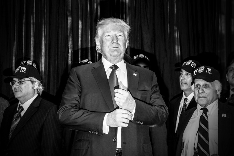 Donald Trump holds a press conference and then speaks at a lunch for the Staten Island GOP, April 17, 2016.