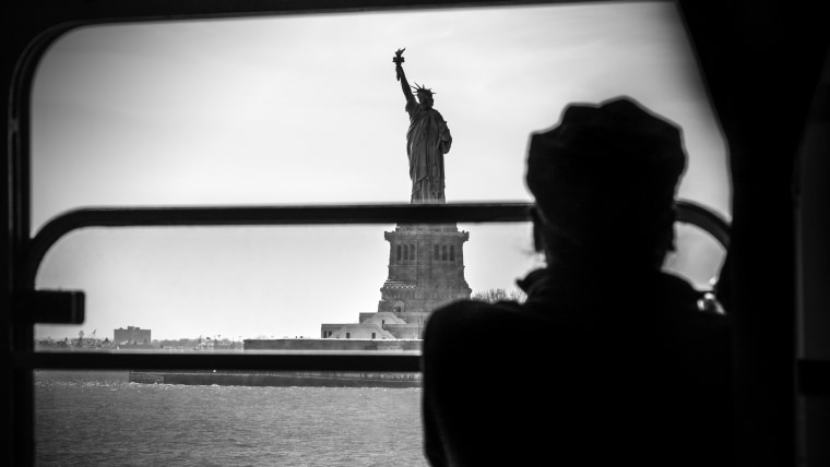 A view of the Statue of Liberty from the Staten Island Ferry.