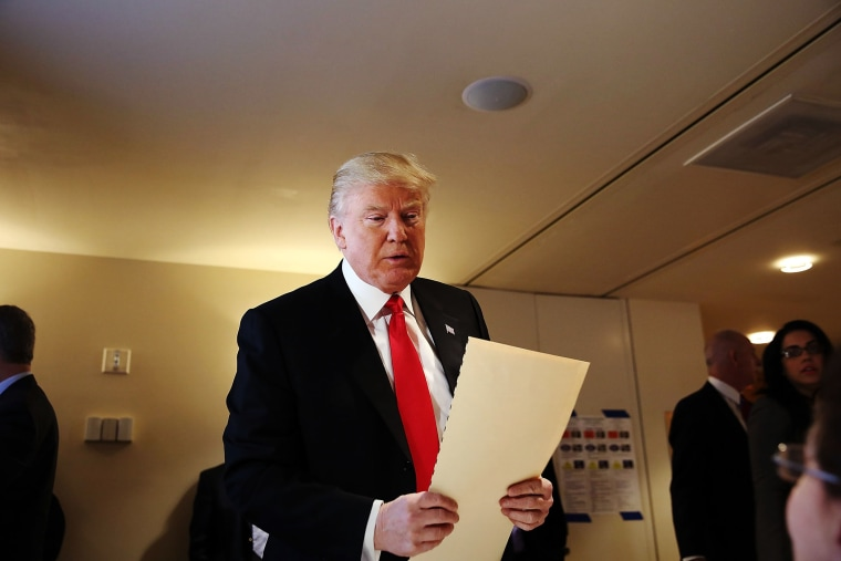 Republican Presidential candidate Donald Trump votes at his local polling station in New York's primary on April 19, 2016 in New York City. Trump is looking to win in New York after a string of losses to Senator Ted Cruz. (Photo by Spencer Platt/Getty)