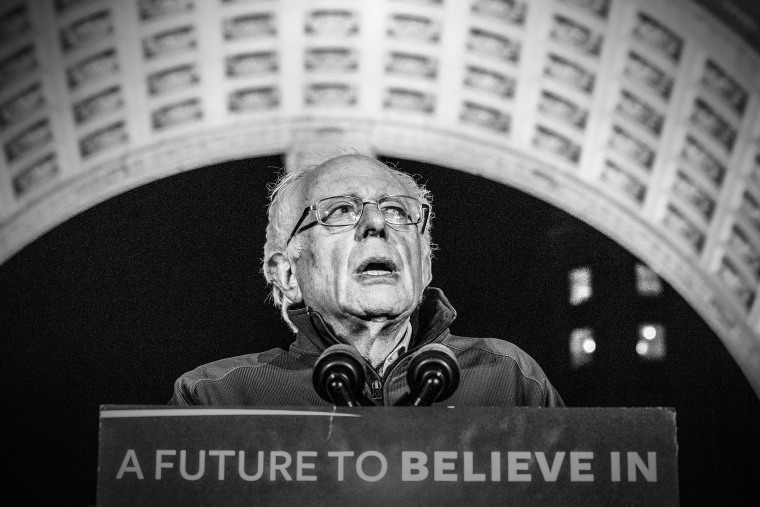 Senator Bernie Sanders speaks at a rally in Washington Square Park, New York, April 13, 2016. (Photo by Mark Peterson/Redux for MSNBC)